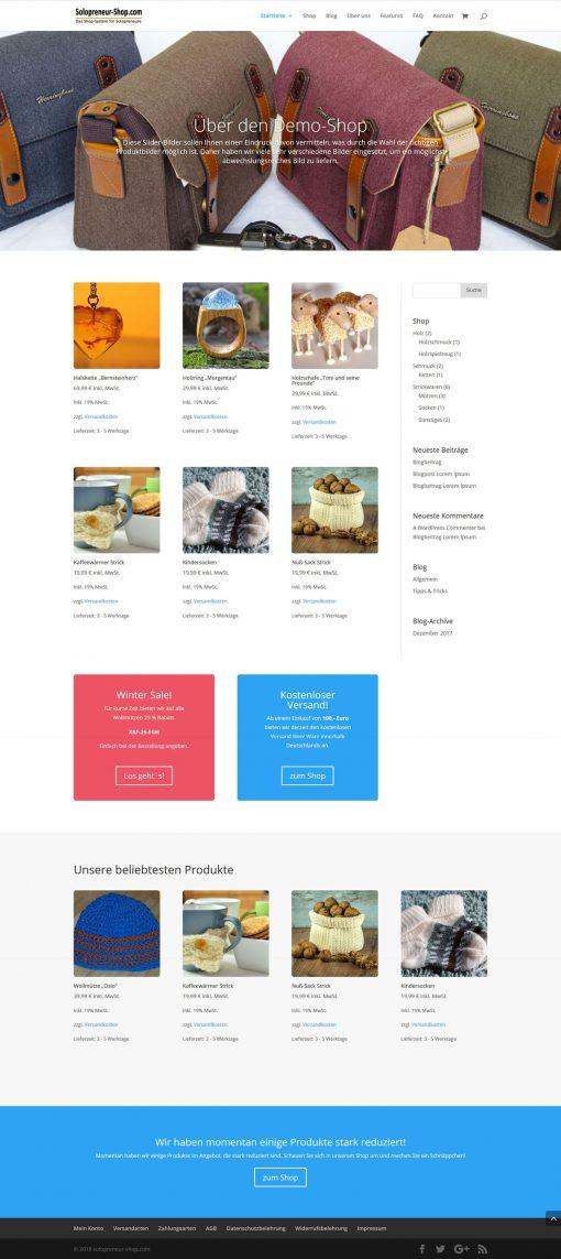Solopreneur-Shop alternative Startseite