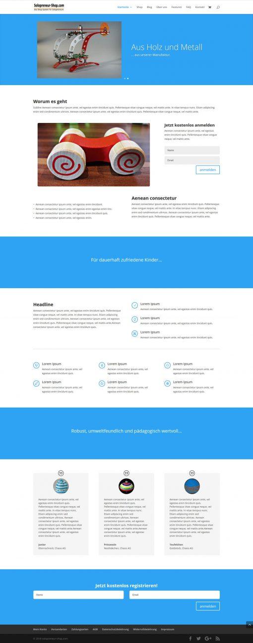Solopreneur-Shop Landingpage