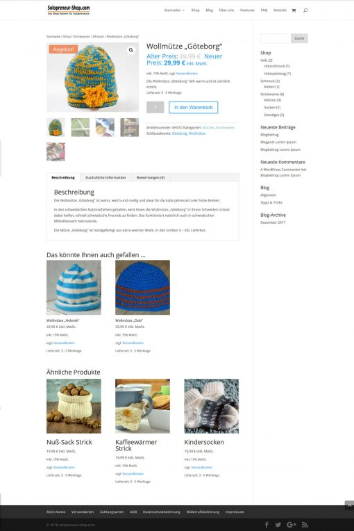 Solopreneur-Shop Produktseite 2